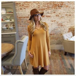 Mustard Strappy Detail Long Sleeve Dress